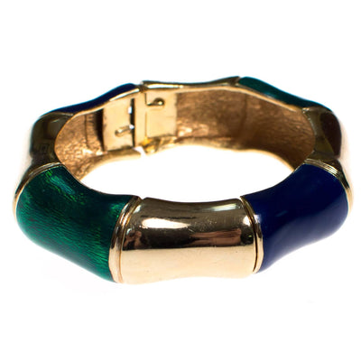 Vintage Ciner Gold, Green and Violet Enamel Bamboo Bangle Bracelet by 1960s - Vintage Meet Modern Vintage Jewelry - Chicago, Illinois - #oldhollywoodglamour #vintagemeetmodern #designervintage #jewelrybox #antiquejewelry #vintagejewelry