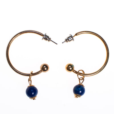Vintage Gold Hoop Earrings with Blue Lapis Bead by 1970s - Vintage Meet Modern Vintage Jewelry - Chicago, Illinois - #oldhollywoodglamour #vintagemeetmodern #designervintage #jewelrybox #antiquejewelry #vintagejewelry