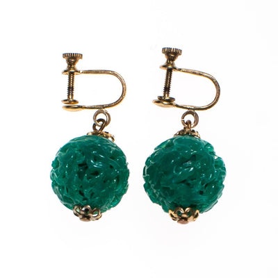 Vintage Carved Faux Jade Dangling, Earrings - Vintage Meet Modern