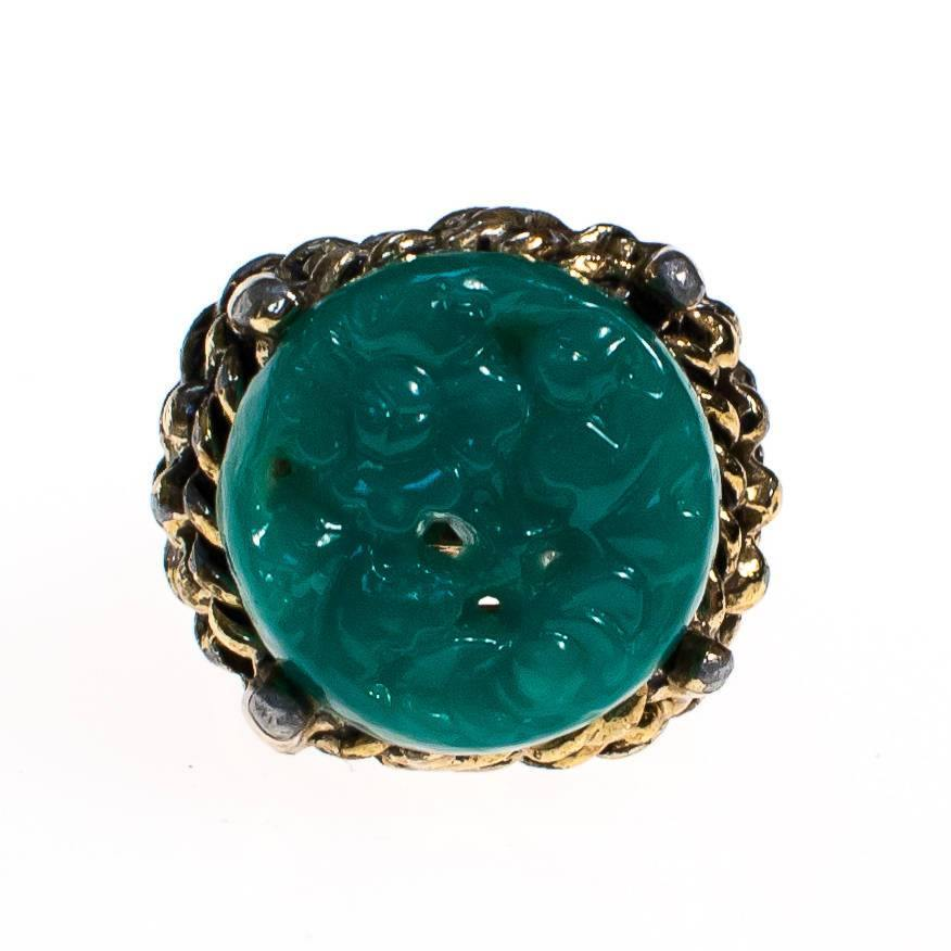 Vintage Faux Carved Jade Statement Ring, Adjustable, Rings - Vintage Meet Modern