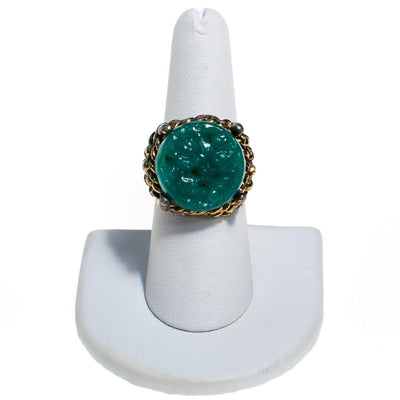 Vintage Faux Carved Jade Statement Ring, Adjustable by 1960s - Vintage Meet Modern - Chicago, Illinois
