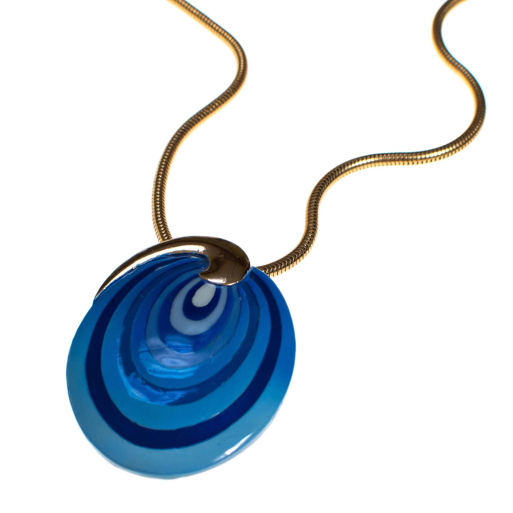 Vintage Eisenberg Blue Swirl Enamel Pendant Necklace, Artist Series, 1960s, Necklace - Vintage Meet Modern