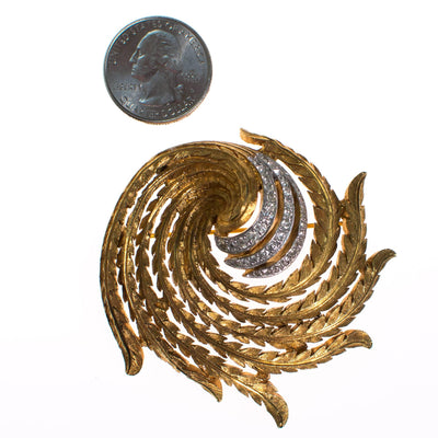Vintage Gold Tone Swirl Design Brooch with Rhinestones by 1960s - Vintage Meet Modern Vintage Jewelry - Chicago, Illinois - #oldhollywoodglamour #vintagemeetmodern #designervintage #jewelrybox #antiquejewelry #vintagejewelry