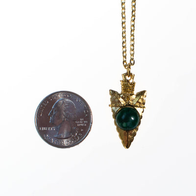 Vintage Gold Arrow Head Necklace with Speckled Jade Art Glass Cabochon by 1970s - Vintage Meet Modern - Chicago, Illinois