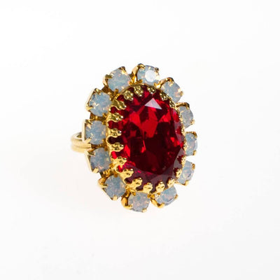 Vintage Ruby Red Crystal and Opaline Statement Ring by 1950s - Vintage Meet Modern Vintage Jewelry - Chicago, Illinois - #oldhollywoodglamour #vintagemeetmodern #designervintage #jewelrybox #antiquejewelry #vintagejewelry