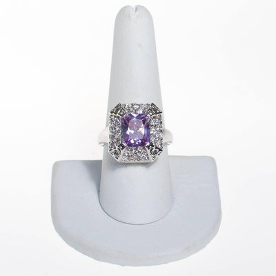 Vintage Tanzanite and CZ Cocktail Ring by Tanzanite - Vintage Meet Modern Vintage Jewelry - Chicago, Illinois - #oldhollywoodglamour #vintagemeetmodern #designervintage #jewelrybox #antiquejewelry #vintagejewelry
