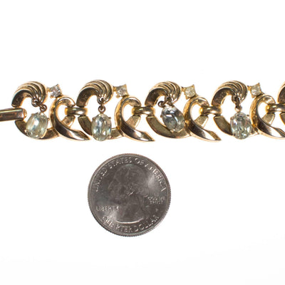 Vintage Crown Trifari Bracelet with Dangling Rhinestones by Crown Trifari - Vintage Meet Modern - Chicago, Illinois