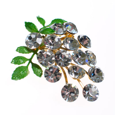 Vintage Rhinestone Berries Brooch with Green Leaves by 1950s - Vintage Meet Modern Vintage Jewelry - Chicago, Illinois - #oldhollywoodglamour #vintagemeetmodern #designervintage #jewelrybox #antiquejewelry #vintagejewelry