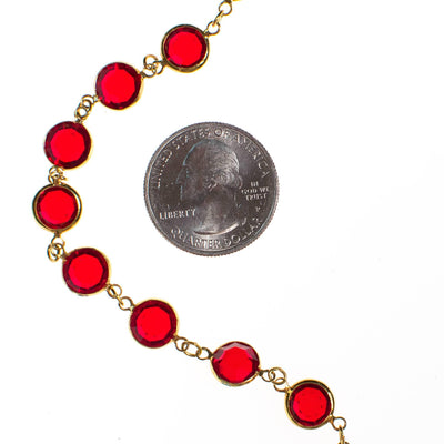 Swarovski Red Bezel Set Crystal Necklace by Swarovski - Vintage Meet Modern Vintage Jewelry - Chicago, Illinois - #oldhollywoodglamour #vintagemeetmodern #designervintage #jewelrybox #antiquejewelry #vintagejewelry
