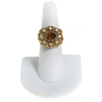 Amber and Opaline Crystal Statement Ring by 1980s - Vintage Meet Modern - Chicago, Illinois
