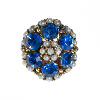 Vintage Blue Rhinestone and Seed Pearl Statement Ring by 1960s - Vintage Meet Modern - Chicago, Illinois