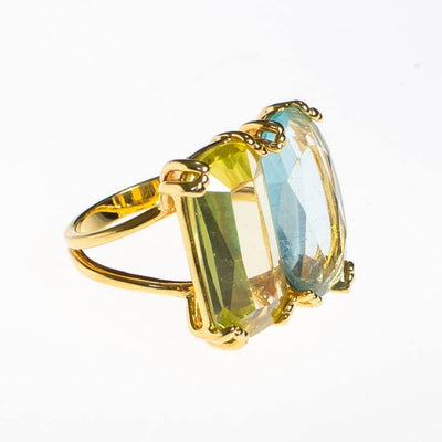 Vintage Double Citrine Crystal Statement Ring by 1980s - Vintage Meet Modern Vintage Jewelry - Chicago, Illinois - #oldhollywoodglamour #vintagemeetmodern #designervintage #jewelrybox #antiquejewelry #vintagejewelry