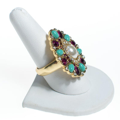 Vintage Scassi Amethyst, Turquoise, Pearl, and Rhinestone Statement Ring by Scassi - Vintage Meet Modern - Chicago, Illinois