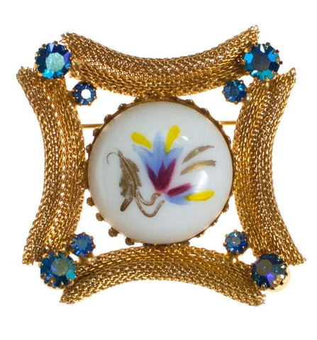 Vintage Silver Cable Hoop Brooch with Royal Colored Cabochon Rhinestones