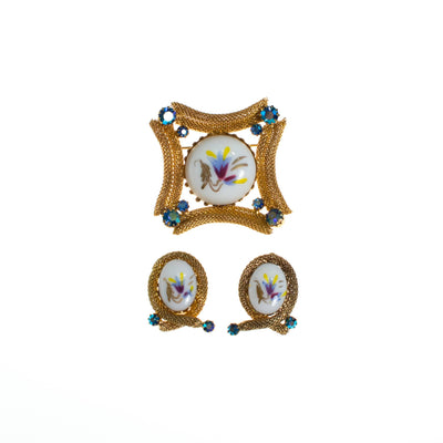 Vintage Hand Painted Porcelain Floral Earrings, White and Gold Tone with Rhinestones, Clip On by 1960s - Vintage Meet Modern - Chicago, Illinois