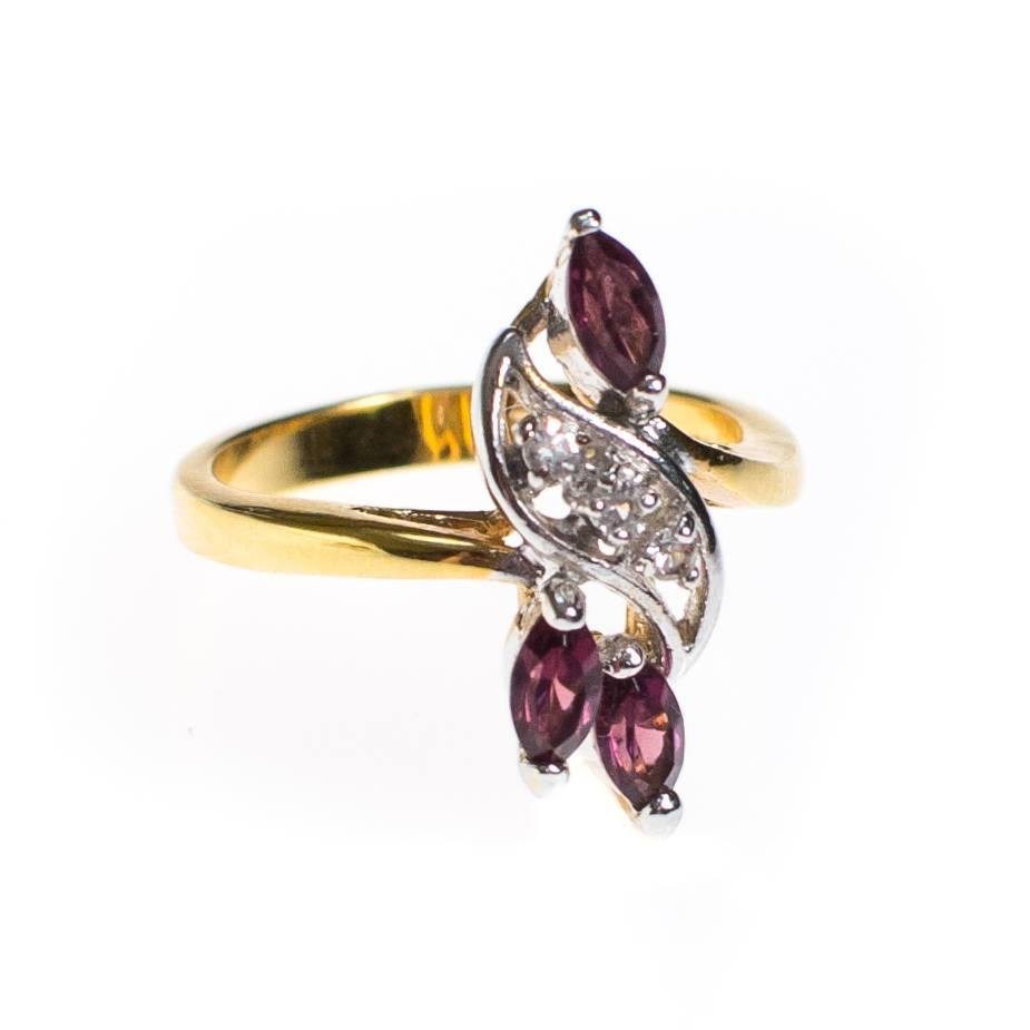 Amethyst and CZ Statement Ring, Gold Plated, Ring - Vintage Meet Modern
