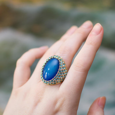 Chunky Blue Rhinestone Cocktail Ring by Kenneth Jay Lane by Kenneth Jay Lane - Vintage Meet Modern Vintage Jewelry - Chicago, Illinois - #oldhollywoodglamour #vintagemeetmodern #designervintage #jewelrybox #antiquejewelry #vintagejewelry