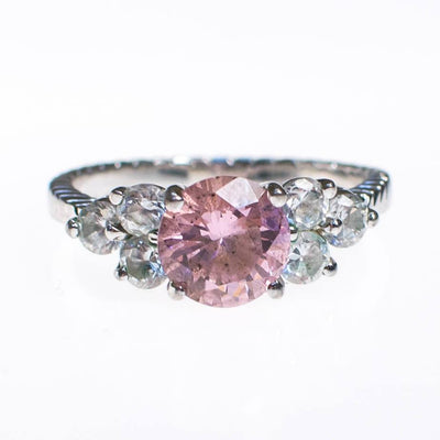 Pink Diamond CZ Ring, Silver Tone Setting by 1990s - Vintage Meet Modern - Chicago, Illinois