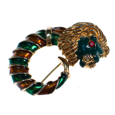 Vintage Lion Brooch Gold Tone with Green and Orange Enamel by 1960s - Vintage Meet Modern - Chicago, Illinois