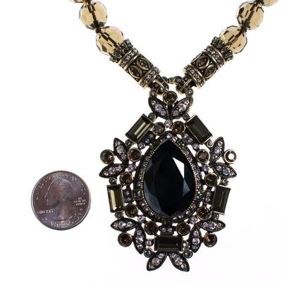 Vintage Heidi Daus Jet, Hematite, and Smokey Topaz Pendant Brooch and Faceted Crystal Beaded Necklace by Heidi Daus - Vintage Meet Modern - Chicago, Illinois