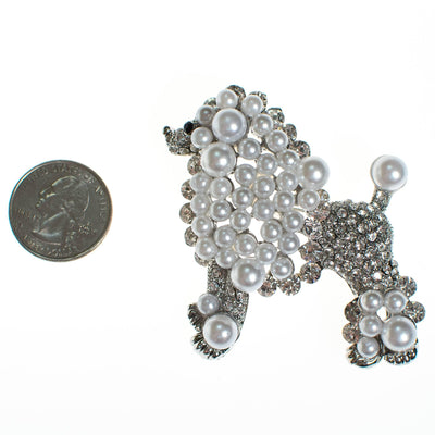 Vintage Poodle Brooch White and Silver by 1980's - Vintage Meet Modern - Chicago, Illinois