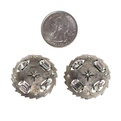 Vintage Mid Century Modern Silver Earrings with Stars and Rhinestones by 1950s - Vintage Meet Modern - Chicago, Illinois