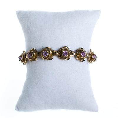 Vintage Gold Flower Bracelet with Amethyst by 1980s - Vintage Meet Modern Vintage Jewelry - Chicago, Illinois - #oldhollywoodglamour #vintagemeetmodern #designervintage #jewelrybox #antiquejewelry #vintagejewelry