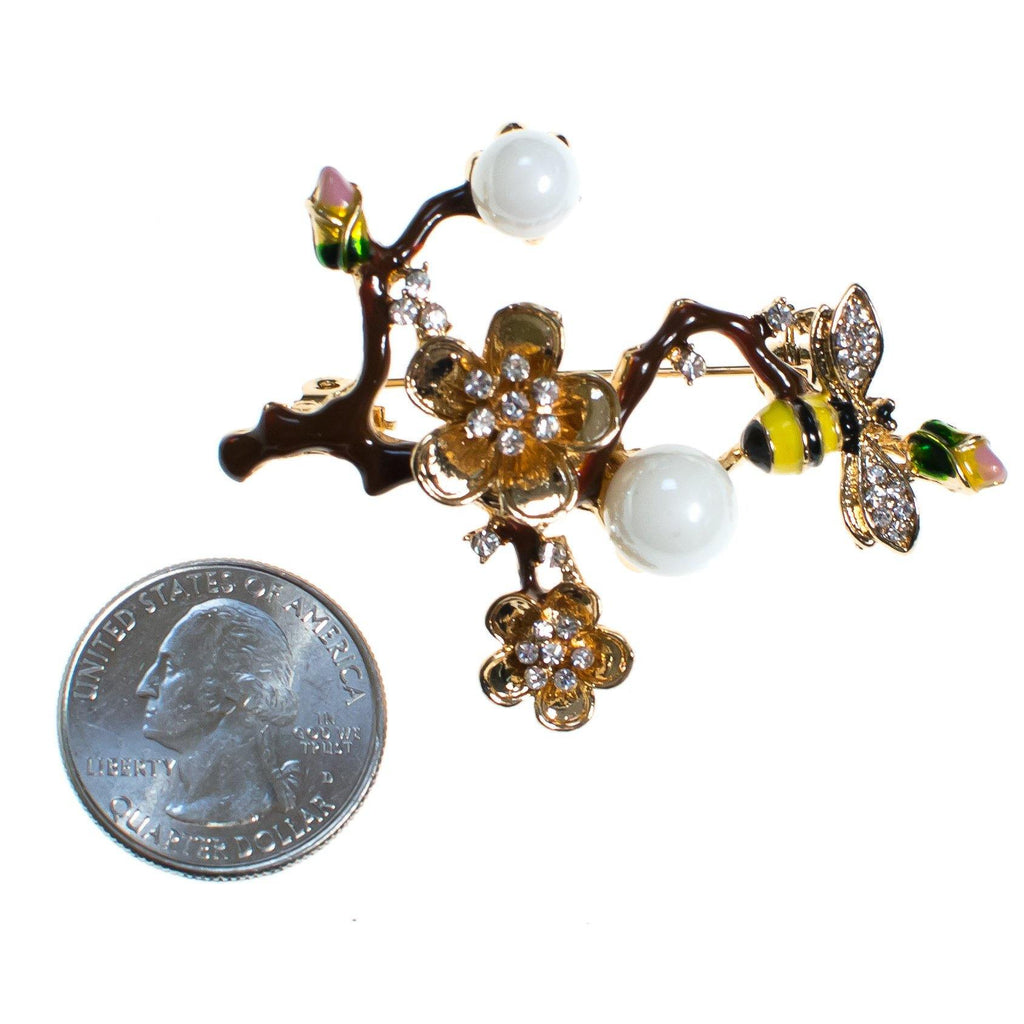 Vintage Bee on a Branch Brooch, Cherry Blossom Gold Tone Rhinestones