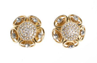 Vintage Gold Dome Scroll Crystal Rhinestone Statement Earrings by 1970s - Vintage Meet Modern - Chicago, Illinois