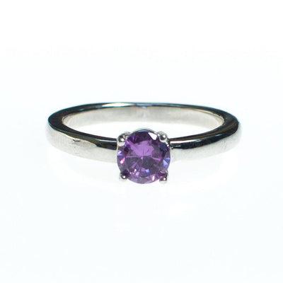 Vintage Amethyst Solitaire Ring Set In Sterling Silver, Ring - Vintage Meet Modern