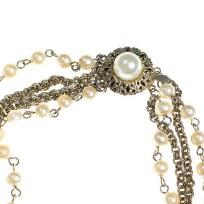 Vintage Pearl and Gold Chain Multi Strand Necklace, Necklace - Vintage Meet Modern