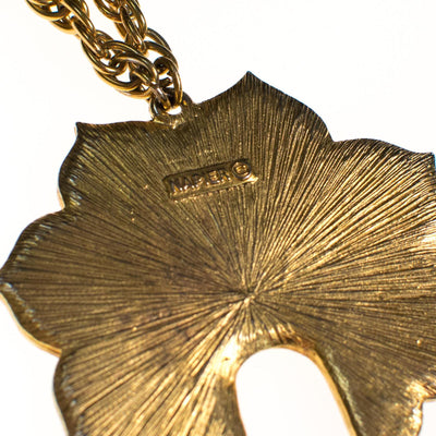 Vintage Napier Gold Lotus Necklace with Tassels by Napier - Vintage Meet Modern Vintage Jewelry - Chicago, Illinois - #oldhollywoodglamour #vintagemeetmodern #designervintage #jewelrybox #antiquejewelry #vintagejewelry