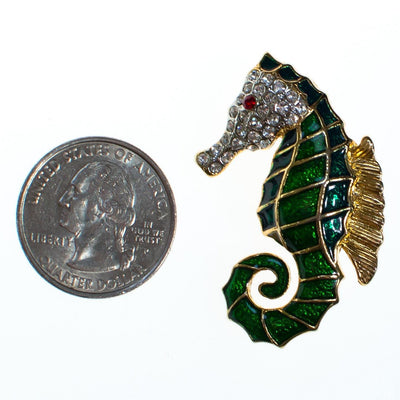 Vintage Seahorse Brooch Green Enamel with Pave Crystal Rhinestones by 1980s - Vintage Meet Modern - Chicago, Illinois