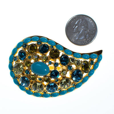 Vintage Joan Rivers Paisley Turquoise, Blue and Light Green Crystal Rhinestone Brooch, Brooch - Vintage Meet Modern