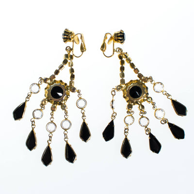 Vintage Crystal and Jet Black Rhinestone Chandelier Statement Earrings by 1960s - Vintage Meet Modern - Chicago, Illinois