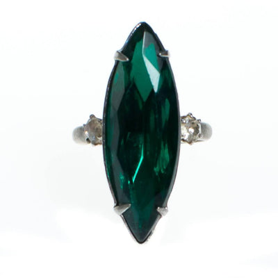 Vintage Emerald Green Crystal Marquise Statement Ring by 1950s - Vintage Meet Modern Vintage Jewelry - Chicago, Illinois - #oldhollywoodglamour #vintagemeetmodern #designervintage #jewelrybox #antiquejewelry #vintagejewelry
