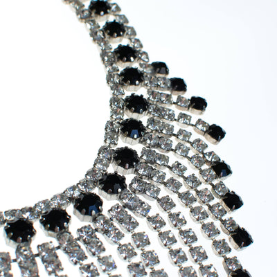 Massive Rhinestone Bib Necklace with Jet Black and Clear Rhinestones by 1960s - Vintage Meet Modern Vintage Jewelry - Chicago, Illinois - #oldhollywoodglamour #vintagemeetmodern #designervintage #jewelrybox #antiquejewelry #vintagejewelry