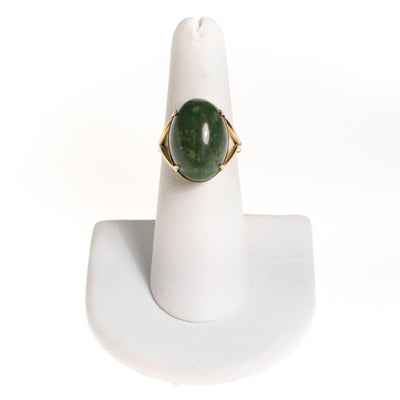 Vintage Nephrite Jade Cabochon Ring by 1960s - Vintage Meet Modern - Chicago, Illinois