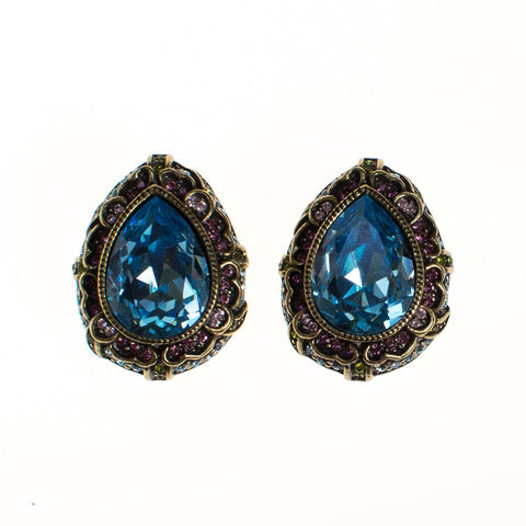 Blue Rhinestone and Moosnstone Flower Earrings