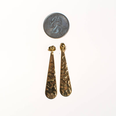 Vintage Hammered Gold Dangling Drop Pierced Statement Earrings by 1970s - Vintage Meet Modern - Chicago, Illinois
