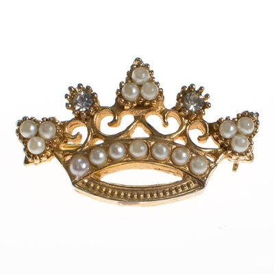 Vintage Accessocraft NYC Gold Crown Brooch with Pearls by Accessocraft NYC - Vintage Meet Modern - Chicago, Illinois