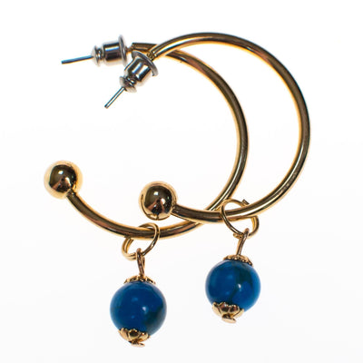 Vintage Gold Tone Hoop Earring with Turquoise Dangling Bead by 1970s - Vintage Meet Modern - Chicago, Illinois