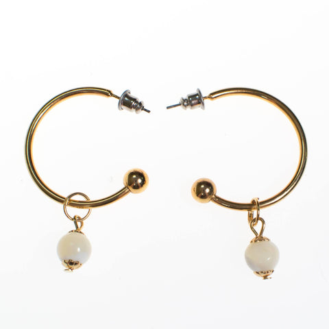 Vintage Gold Hoop Earrings with Blue Lapis Bead