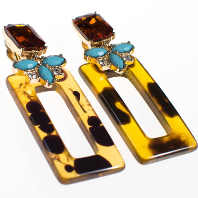 Vintage Faux Tortoise Turquoise and Citrine Rhinestone Earrings, Clip On, Long Dangling by 1990s - Vintage Meet Modern - Chicago, Illinois