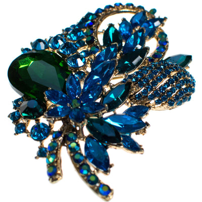 Vintage Emerald Green and Sapphire Blue Crystal Rhinestone Statement Brooch by Unsigned Beauty - Vintage Meet Modern - Chicago, Illinois