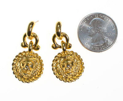 Vintage Anne Klein Couture Mini Lion Doorknocker Earrings, Gold Tone, Pierced, Dangling by Anne Klein - Vintage Meet Modern Vintage Jewelry - Chicago, Illinois - #oldhollywoodglamour #vintagemeetmodern #designervintage #jewelrybox #antiquejewelry #vintagejewelry