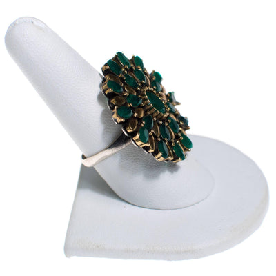 Vintage Sterling Silver Green Tourmaline Medallion Statement Ring, Ring - Vintage Meet Modern