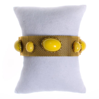 Vintage Gold Mesh Bracelet with Yellow Lucite Cabochons by 1960s - Vintage Meet Modern Vintage Jewelry - Chicago, Illinois - #oldhollywoodglamour #vintagemeetmodern #designervintage #jewelrybox #antiquejewelry #vintagejewelry