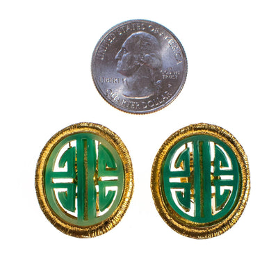 Vintage Vendome Green Jade Asian Character Earrings, Gold Tone, Oval, Clip On by Vendome - Vintage Meet Modern - Chicago, Illinois
