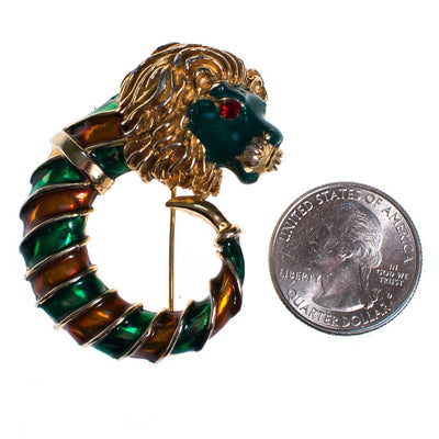 Vintage Lion Brooch Gold Tone with Green and Orange Enamel by 1960s - Vintage Meet Modern Vintage Jewelry - Chicago, Illinois - #oldhollywoodglamour #vintagemeetmodern #designervintage #jewelrybox #antiquejewelry #vintagejewelry